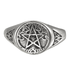 Silver Tree Pentagram Ring