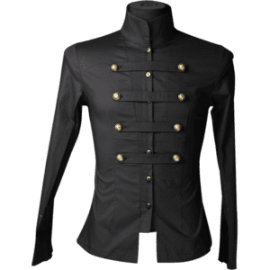 Gothic Black Cotton Naval Shirt