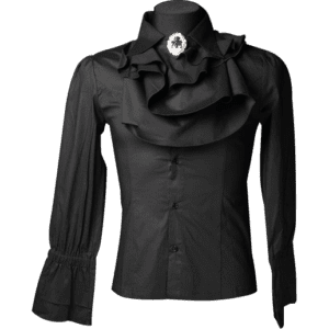 Gothic Mens Black Ruffle Shirt