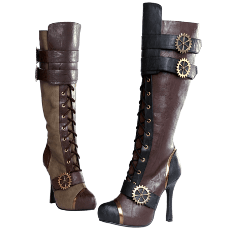 Knee-High Lace Up Steampunk Heel Boots