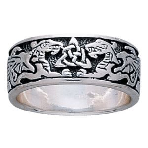 Celtic Dragons Silver Ring