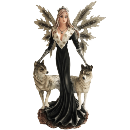 Winter Night Fairy with Wolves Statue