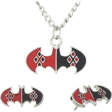 Harley Quinn Necklace and Earrings Set