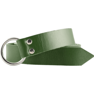 Leather Medieval Ring Belt - Green