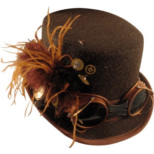 Brown Steampunk Riding Hat with Goggles