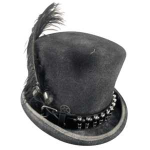Men's Black Stovepipe Hat with Bullets