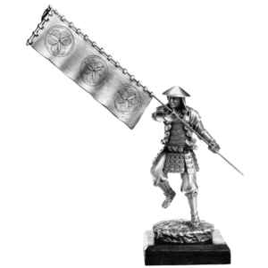 Pewter Samurai With Sashimono Sculpture