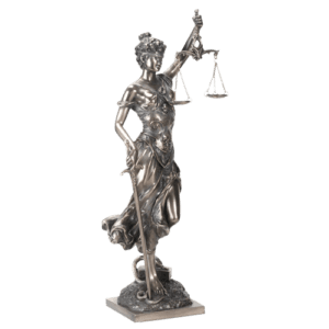 Bronze Justice with Scales and Sword Statue