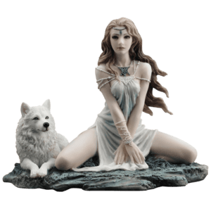 Elf Maiden and Wolf Statue