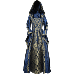 Alluring Damsel Dress with Hood – Blue with Gold