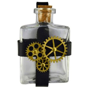 Glass Potion Bottle with Steampunk Gear Holder