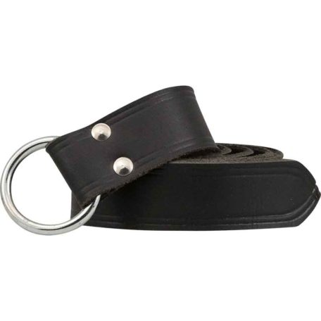 Childrens Double Lined Leather Ring Belt - Black
