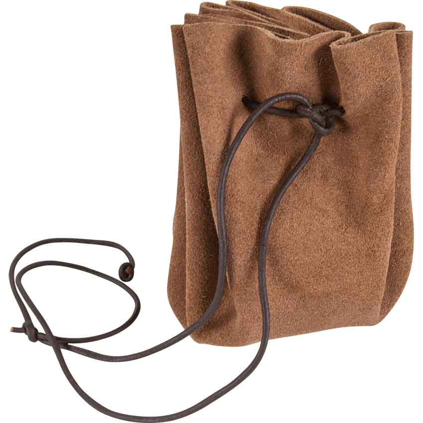 Hand Crafted Brown Leather Suede Drawstring Pouch Medieval Larp Traditional Purse Bag Viking