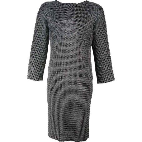 Riveted Long Sleeved Blackened Chainmail Hauberk