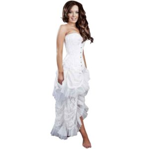 Elvira White Taffeta Skirt