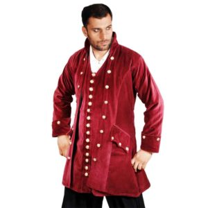 Pirates Captain England Red Velvet Coat