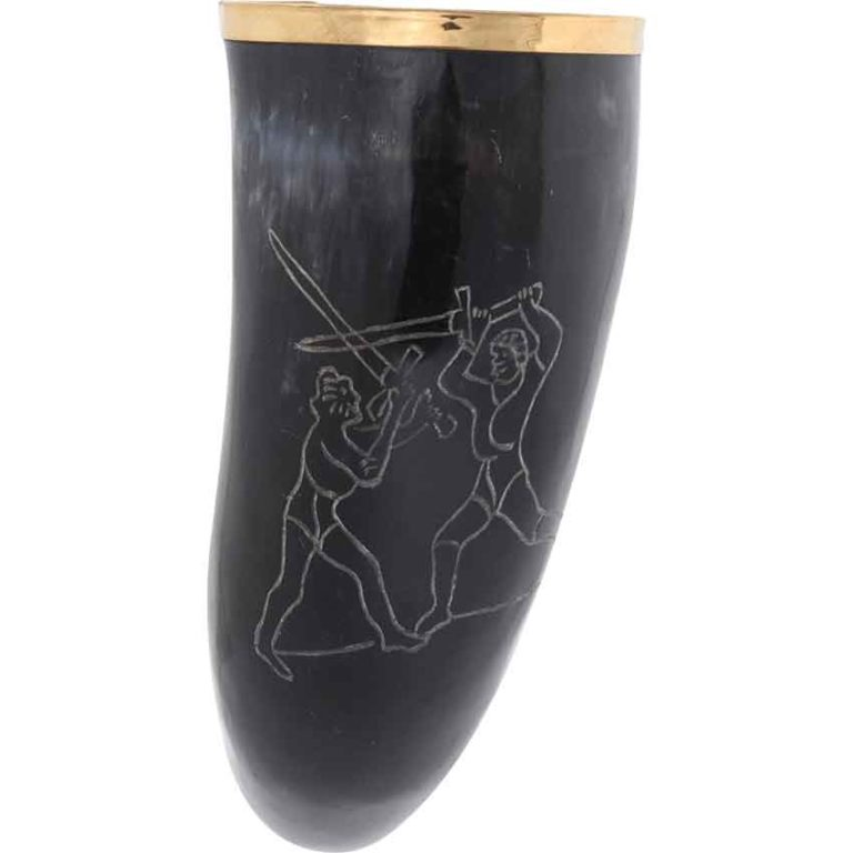 Engraved Sword Fight Drinking Horn