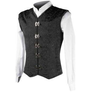Black Brocade Clasp Shaper Vest