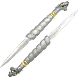Silver Double Dragon Short Sword