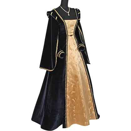 Courtly Renaissance Dress - Blue and Gold