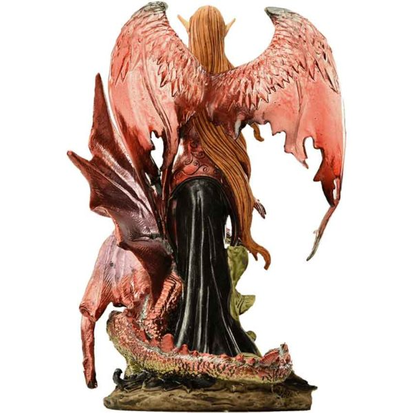 Elven Fairy with Red Dragon Statue