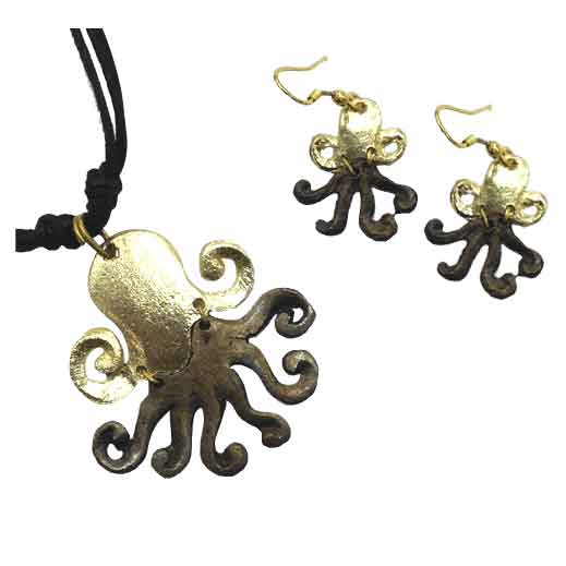 Brass Octopus Jewelry Set