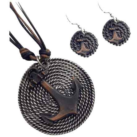 Silver and Copper Anchor Jewelry Set