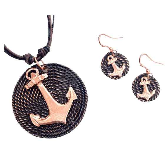 Copper Anchor Jewelry Set