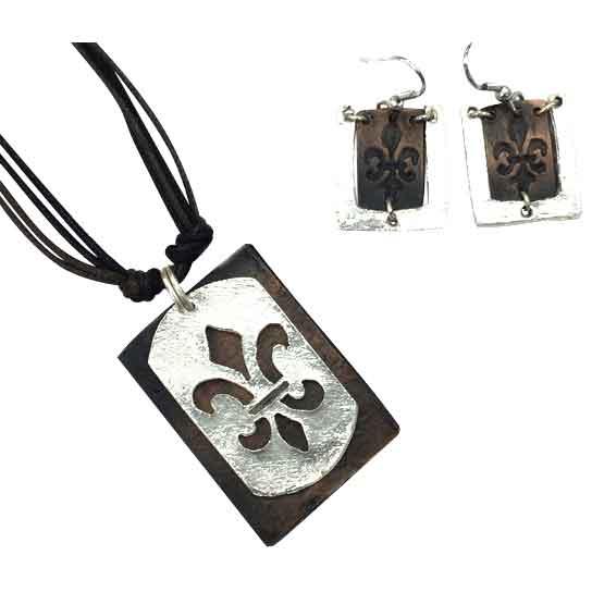 Silver and Copper Fleur de Lis Jewelry Set