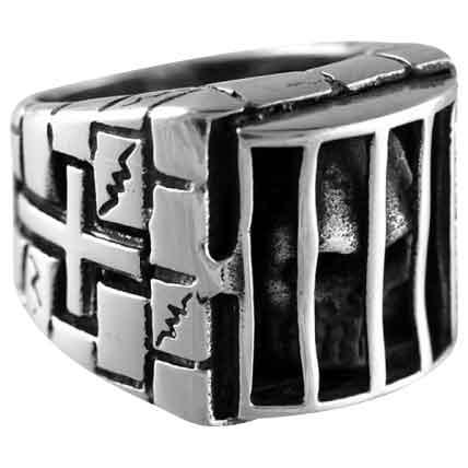 Caged Skull Ring