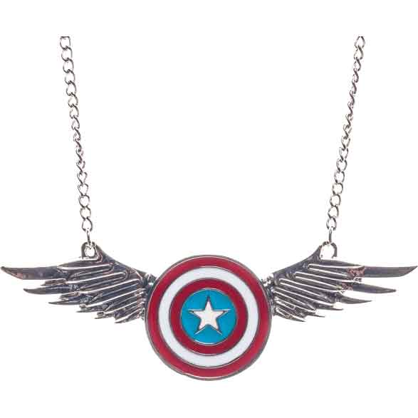 Winged Captain America Shield Necklace