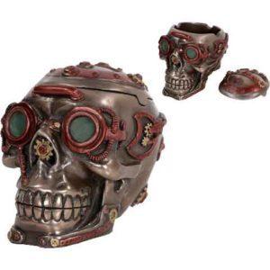 Dark Steampunk Skull Trinket Box
