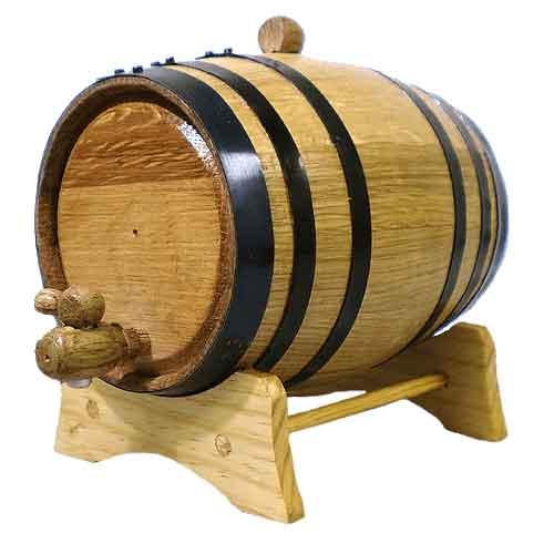 2 Liter Oak Barrel with Black Steel Hoops