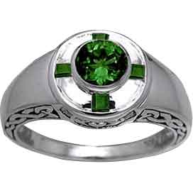 Celtic Ring with Gemstone and Claddagh