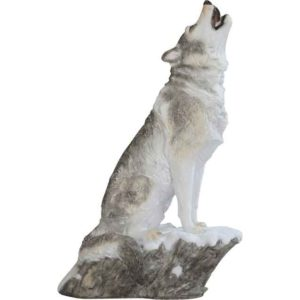 Howling Grey Wolf Statue
